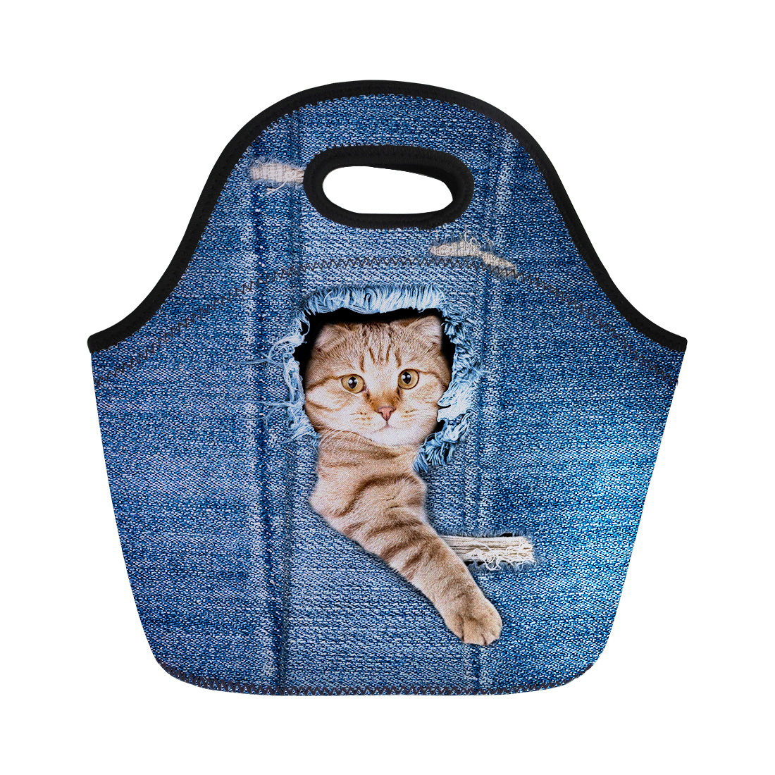 FORUDESIGNS Cute Pocket Cats Lunch Bag for Kids Small Animals Print Food Carry Women Denim Design Thermal Insullate Lunchbag