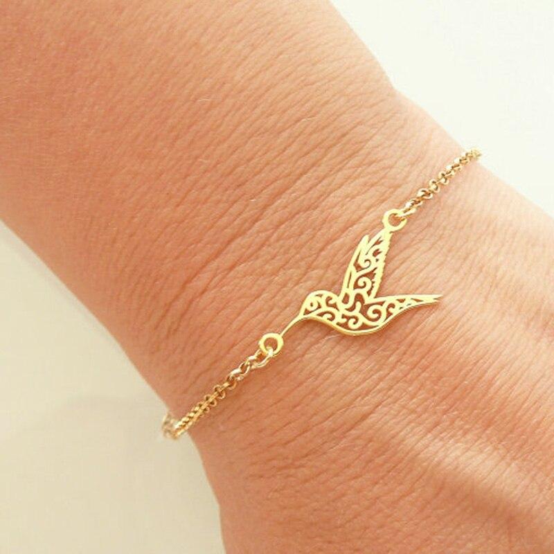 SMJEL New Arrival Carving Bird Bracelet Bangles Women Hummingbird Jewelry Gold  / Rose Gold Chain femme bileklik B042 Ювелирное изделие