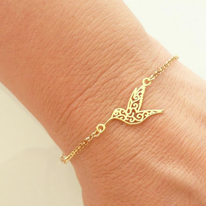 SMJEL New Arrival Carving Bird Bracelet Bangles Women Hummingbird Jewelry Gold / Silver / Rose Gold Chain femme bileklik B042