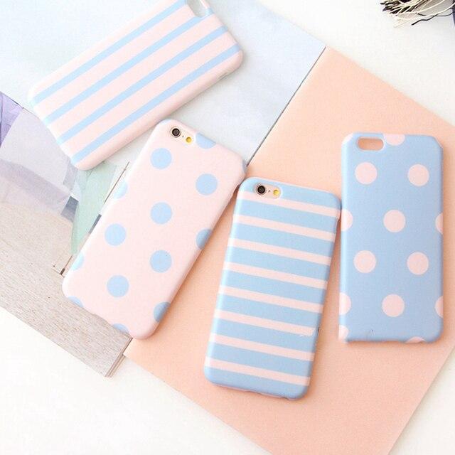 Azul e rosa de bolinhas listrado phone cases para iphone 6 6 s 6 mais 6 splus 7 7 mais simples macio tpu bonito celular case