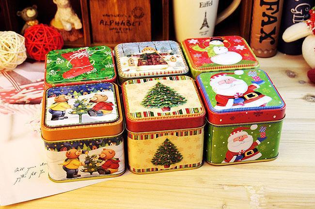 Vánoční styl plechová krabička Metal Storage Box Šperky případ Candy Box Vánoční dárek případ