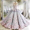 Vestido De Novia 2017 vestido de Luxo Vestido De Casamento Azul com a Mão Feito Flores rosa Ver Através Voltar Vestidos de Noiva Robe de Mariage Plus Size