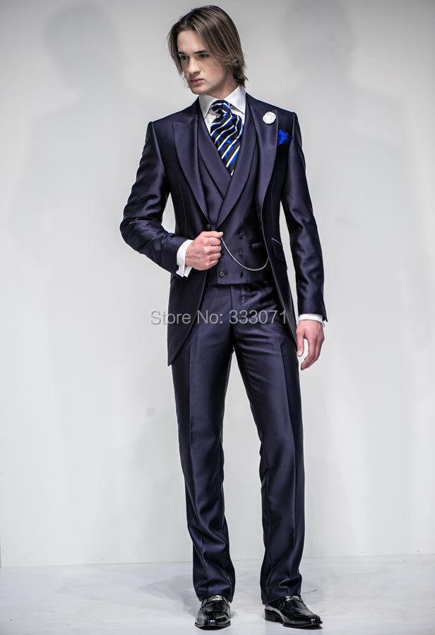 d07db3fa15cb2 Tailor made Sıcak Donanma Damat Takım Elbise kruvaze Smokin Slim fit Best  man damat Erkek parti Düğün Ceket + Pantolon + kravat + yelek