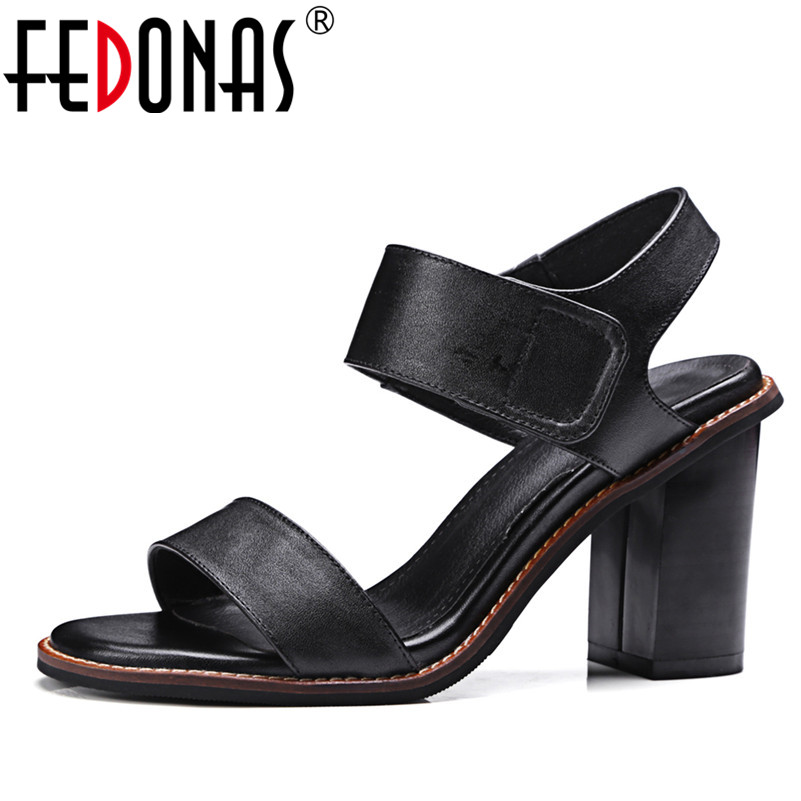 FEDONAS 2018 New Summer Women Sandals High Quality Genuine Leather Shoes Woman High Heel Sandals Females Fashion Shoes Sandals women sandals 2016 fashion woman summer shoes sandals female beach wedges shoes high heel shoes sandals
