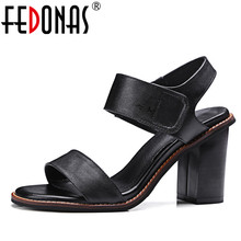 FEDONAS 2018 New Summer Women Sandals High Quality Genuine Leather Shoes Woman High Heel Sandals Females Fashion Shoes Sandals