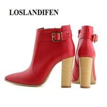 LOSLANDIFEN Hot Design Women Shoes 10 cm Block Heel Point Toe Ankle Buckle side zip Autumn Winter Boots Wedding Femme Chaussure
