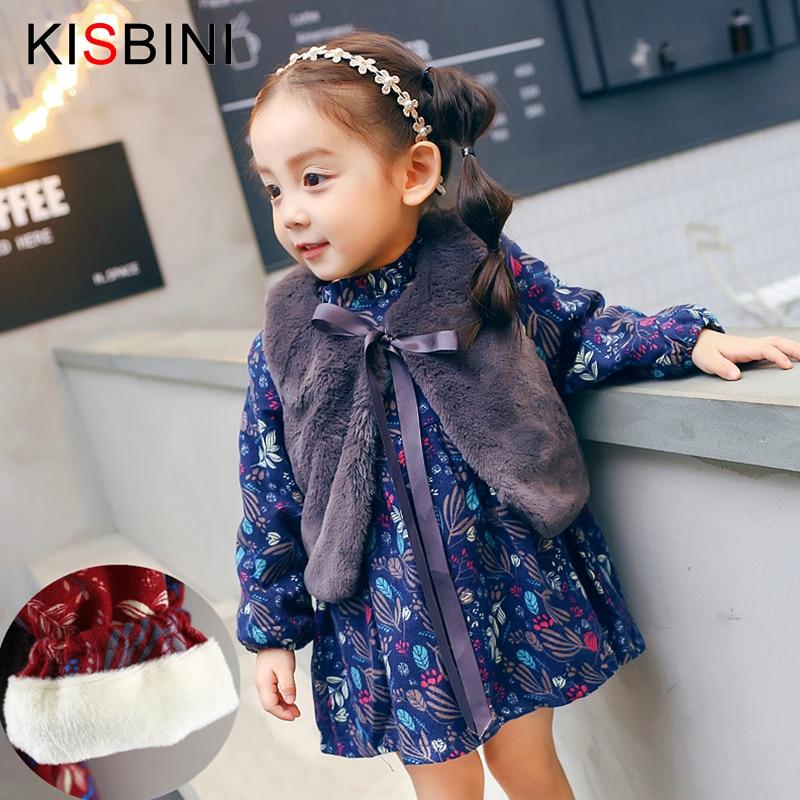 386fb0257d4 KISBINI Winter Baby Girls Dresses with Vest 2pc Lovely Printed Thick Velvet  Warm Baby Girl winter clothes Infant Birthday Dress