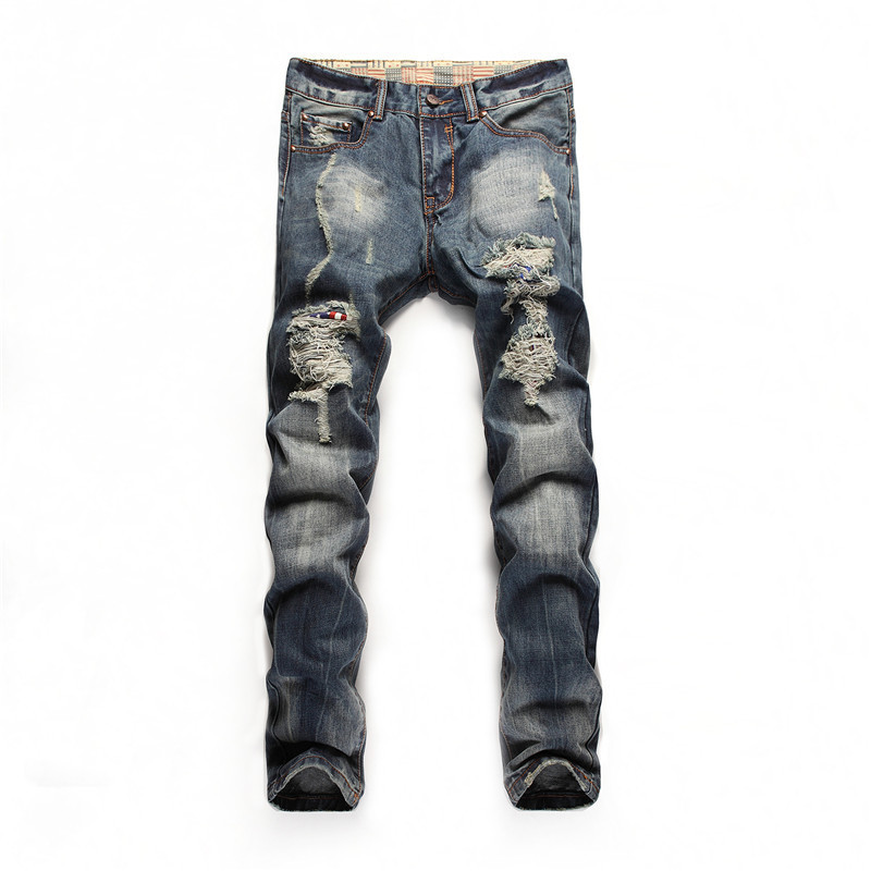 Four seasons can wearpeoples jeans ragged hole jeans straight Slim denim long pants Korean fashionable beggar pants male jeans
