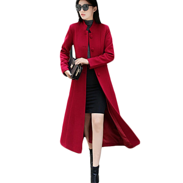 24a439f72a47f Women Woolen Coats High-end Elegant Long Slim Women s Autumn Winter Jacket  Belted Trench Coats