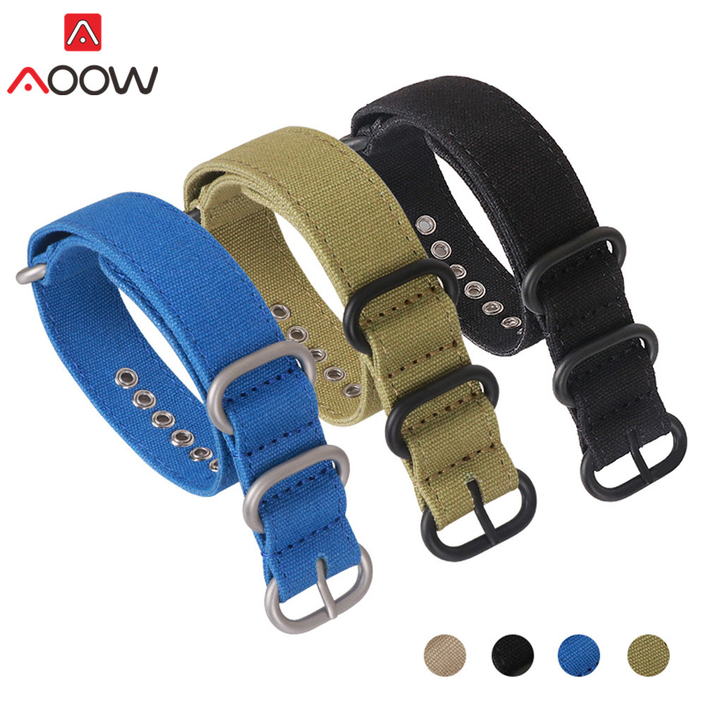Zulu Canvas Nylon Watchband 18mm 20mm 22mm 24mm 26mm Ring Buckle Nato Men Sport Sweatproof Replacement Bracelet Watch Band Strap
