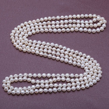 """JYX Pearl Long Necklace women Classical 6.5mm Natural natural White Round Freshwater Pearl Necklace Costume Jewelry 63"""""""