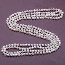 """JYX collar largo de perlas de agua dulce para mujer, Gargantilla clásica de 6,5mm, collar redondo de perlas naturales y blancas de 63"""""""