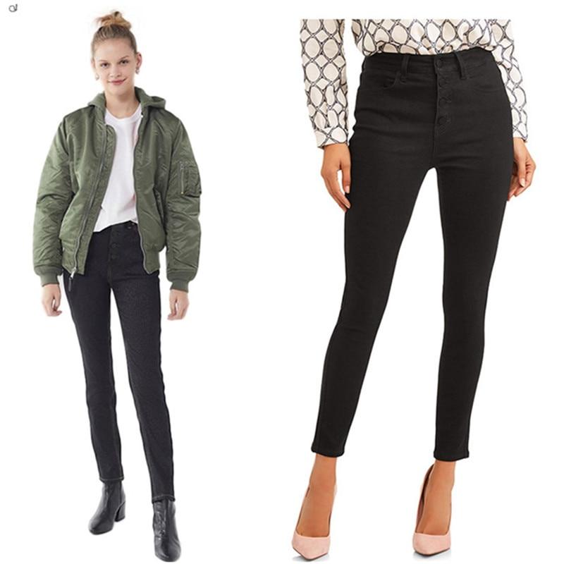 Pencil Jeans Pants Stretch Zipper Black Sexy High-Waist Fashion Women New Hot Pocket