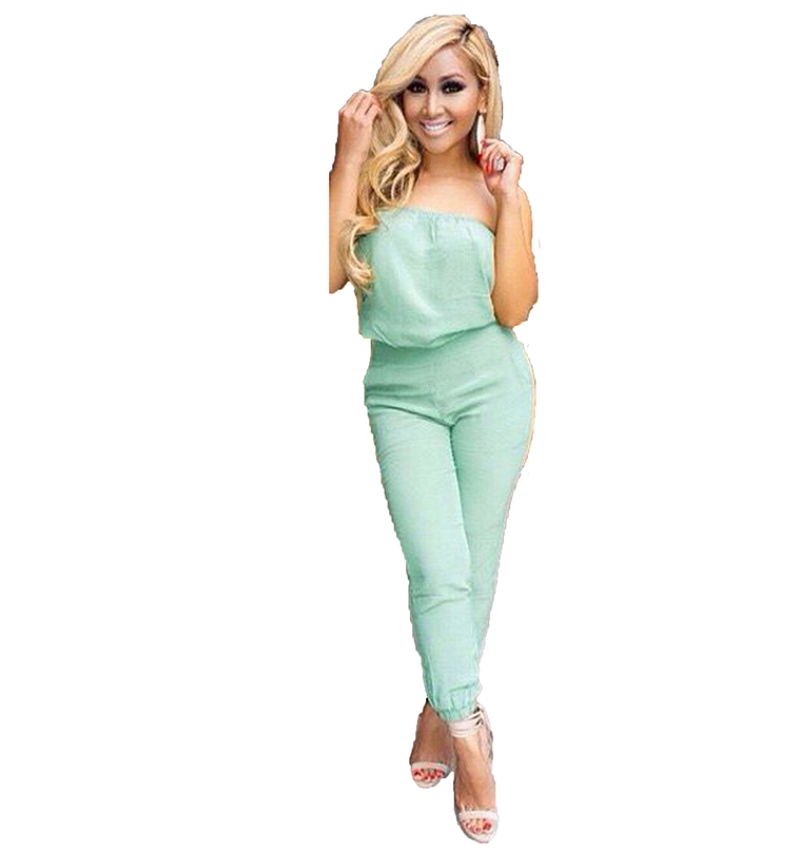 2017 Summer Style Mint Green Strapless Jumpsuit Crop Top And Pants Set Fashion Bodysuit