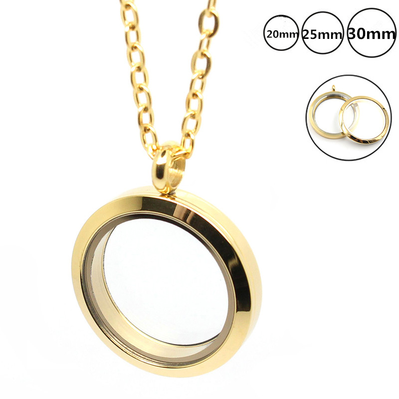 With chain 20mm 25mm 30mm gold Plain Twist Screw Floating Locket Stainless Steel Memory Glass Locket Pendant father day gift in Pendants from Jewelry Accessories