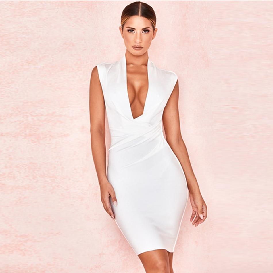 Bandage Sleeveless V Neck Womens Dress White Sheath Robe Waist Ruched Bodycon Mini Dresses Night Club