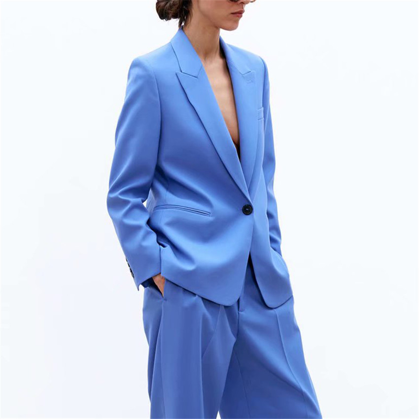 BLSQR Women Elegant Blue Blazers Long Sleeve Notched Collar Solid Outerwear Office Lady Work Wear Basic Chic Tops