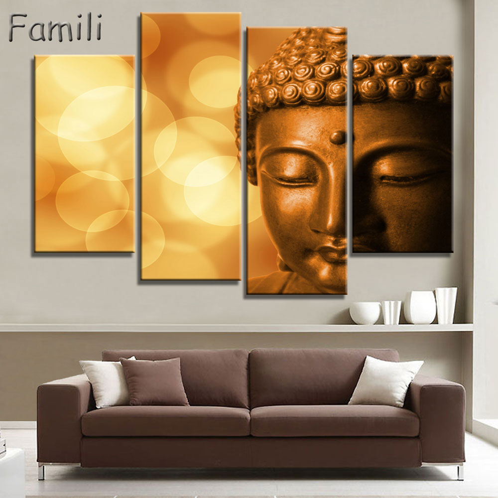 buddha canvas art promotion shop for promotional buddha canvas art 4 panel abstract printed buddhism lord buddha painting canvas art buda picture paintings cuadros for living room unframed