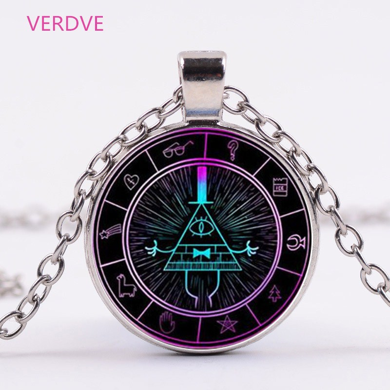3 Colors Glass Necklace Steampunk Drama Gravity Falls Mysteries BILL CIPHER WHEEL Time Gems Pendant Necklace