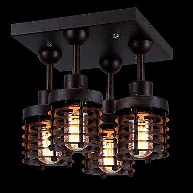 Loft style rétro ampoule edison vintage industrielle plafonnier avec 4 lumières accueil luminaires