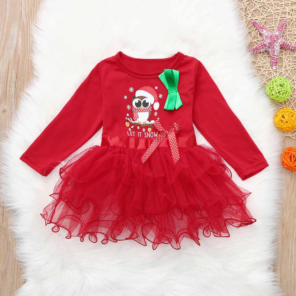 Vestido de Navidad para niñas y bebés, vestido de princesa de dibujos animados de Navidad, ropa de otoño para niñas, vestido rojo tutú, ropa para niños de Año Nuevo