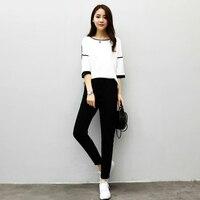 Girls Korean Wild Leisure Women Sets New Women Fashion Work Style Casual Solid Slim 1 2