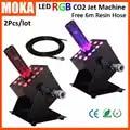 2PCS/Lot DMX CO2 Jet Machine rgb disco co2 machine Night Club Cannon Co2 led Cryo Jet Special Effect machine