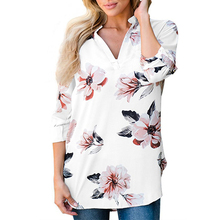 Female Long Shirts 2017 New Floral Print Blouses Autumn Blouses Women Casual V Neck Loose Blouses Oversized Femme Blusas Gv955