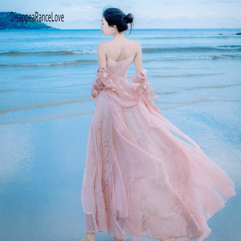 Elegante A Lng In Pieghe Chiffon Avorio Pavimento Pizzo Bianco Vestito Rosa Donne Di Lungo colore Partito Manica Maxi Abito Floreale Lunghezza Del Estate OfxAqpcwXZ
