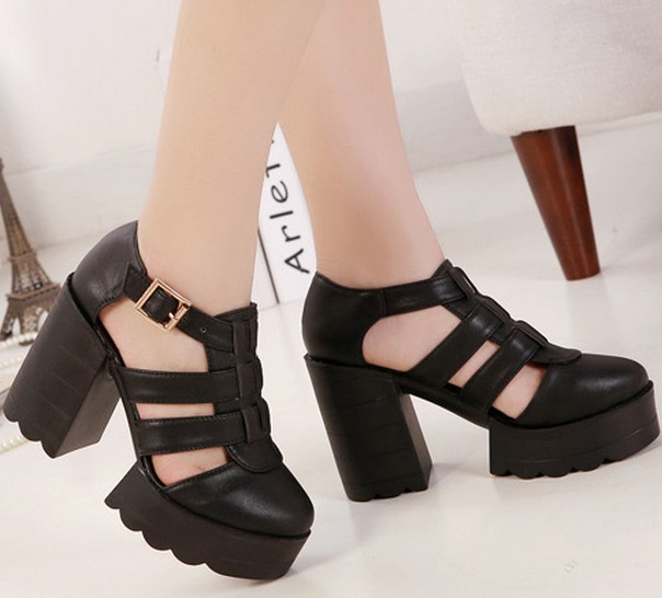 7334c788a4a chunky high heels punk fashion female cut outs black platform shoes woman  summer pumps 2014 ladies sandals for women YL140764-in Women s Sandals from  Shoes ...