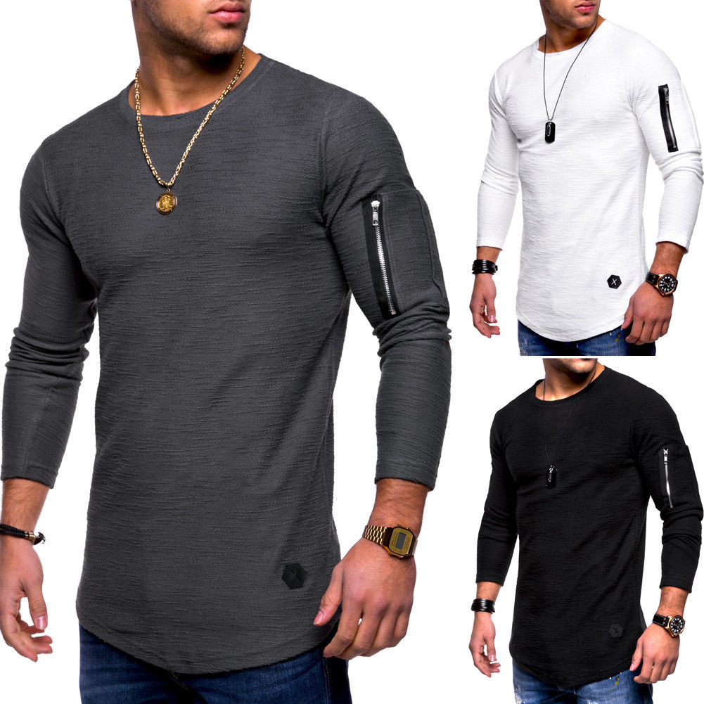 Man Autumn Casual Sweatshirt T-Shirt Zip Decor Long Sleeve t shirt Europe Style Strong muscle Slim Warm basic Tops H9