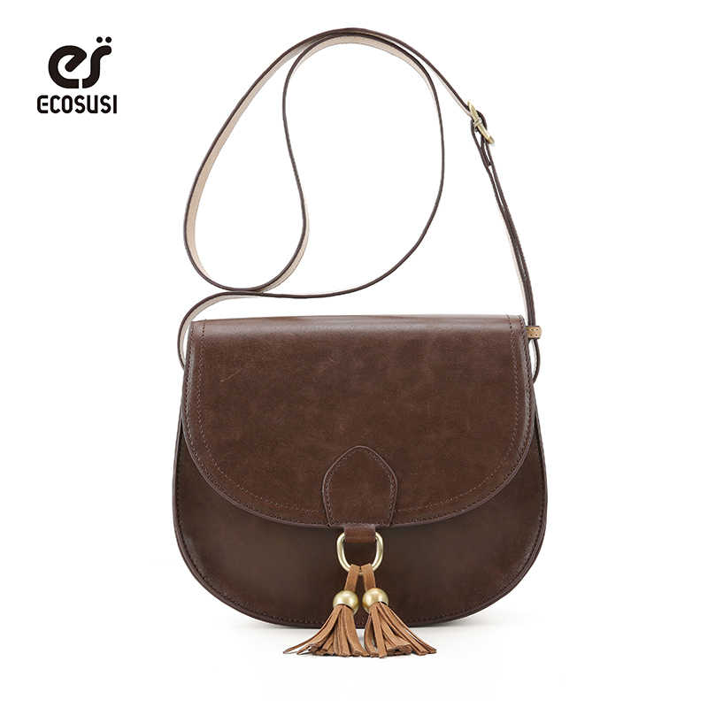 bacf1c05079 ECOSUSI Women Saddle Bags With Tassel Crossbody Bags PU Leather Shoulder  Bags Fashion Purse Vintage Bag