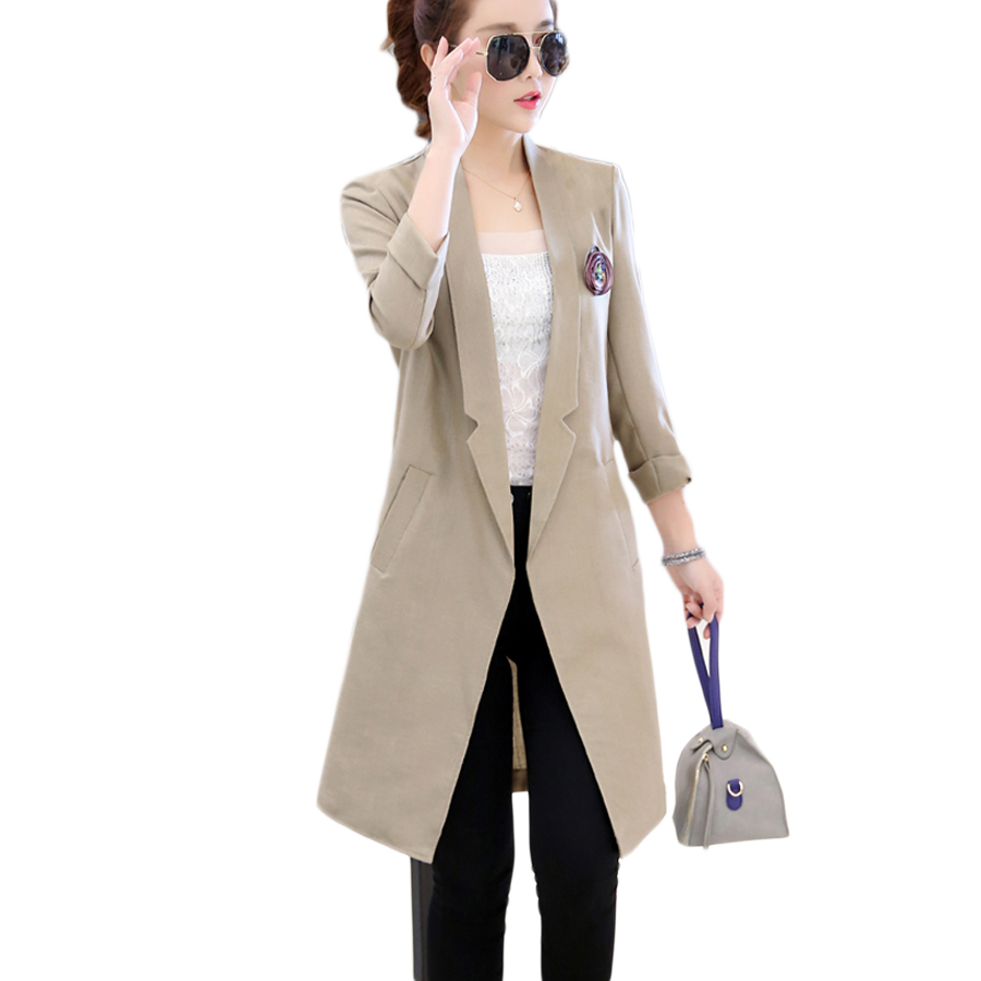 Plus Size Long Blazer Korean Feminino Office Wear Cotton Linen Women Blazers And Jackets Marynarka Damas Ladies Blazer J0017E