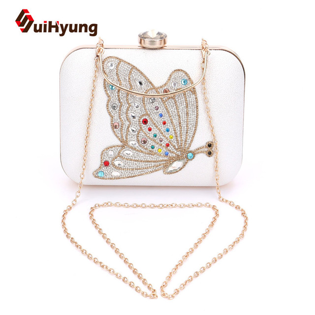 Free Shipping Women PU Leather Clutch Bag Fashion DIY Diamond Crystal  Butterfly Handbag Day Clutches Party 5629ff717161