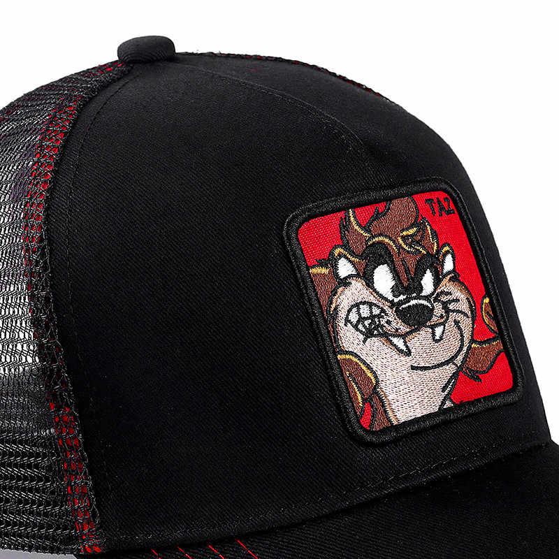 Neue Sommer Mesh Cap Anime Cartoon Snapback Tier TAZ Bestickte Zeichnung Baseball Kappe Für Frauen Männer Lkw Fahrer Hut
