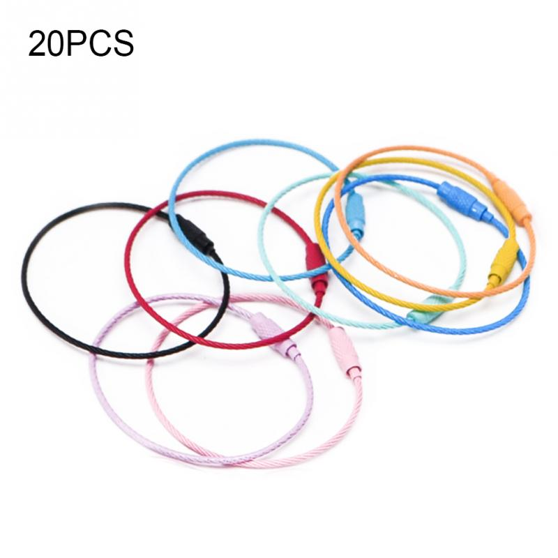 20Pcs Colored Nylon Coated Stainless Steel Wire Keychains Aircraft Cable  Key Ring Loops for Hanging Luggage Tags c2dc1d601