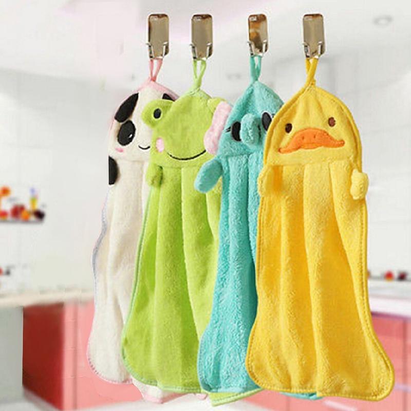 Soft Plush Cartoon Animal Hanging Wipe Bathing Towel Child Nursery Hand Towel