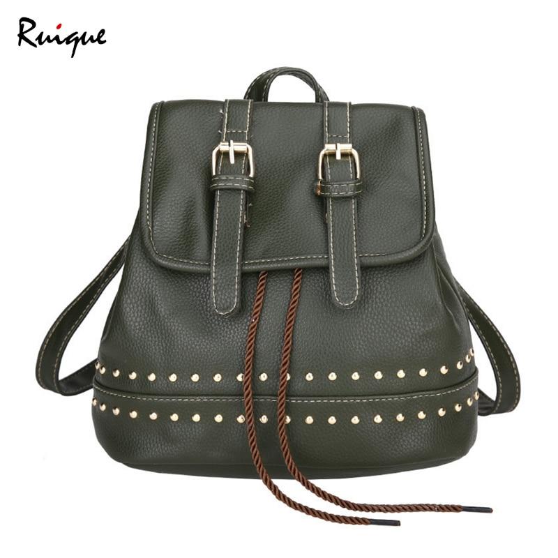Ruique Vintage rivetée sac à dos filles à la mode Simple couleur décontracté sac de voyage femmes doux PU cuir Moto Biker Style sacs à dos