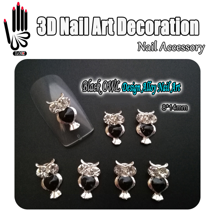 Nail Art Decoration 10pcs/Lot 3D Black OWL Design Clear Rhinestone Alloy Nail Art Decorations for Nail Jewelry