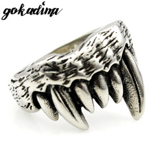 GOKADIMA Cool Tribe Orcs Wolf Tooth Rings For Men Stainless Steel Biker Style 2017 Jewelry drop Shipping WR298