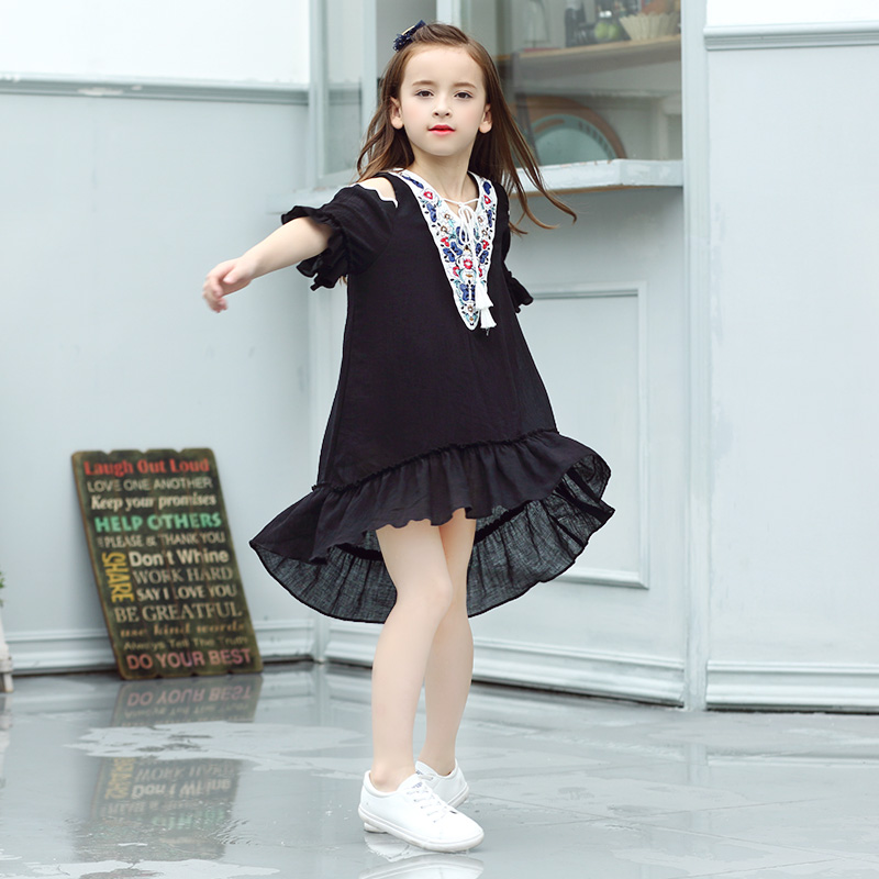 e136d6d8e222 2018 Summer Girls Off Shoudler Dress Children s Black Fashion Clothes for  Cute Shcool Teens Age5678910 11 12 13 14 Years Old