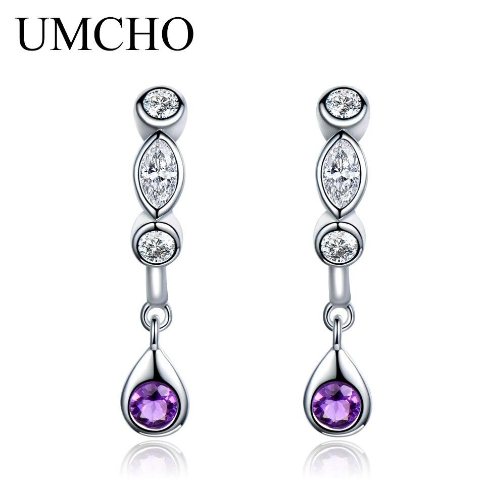 UMCHO Natural Amethyst Drop Earrings For Women Water Drop Earrings Silver 925 Sterling Silver Jewelry Korean 2018 New цена 2017