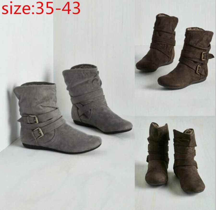 Yeni pamuklu ayakkabılar büyük boy kadın ayakkabısı buzlu kahverengi pamuklu bot patlama modelleri giyim alt bayan botları sıcak kısa çizme