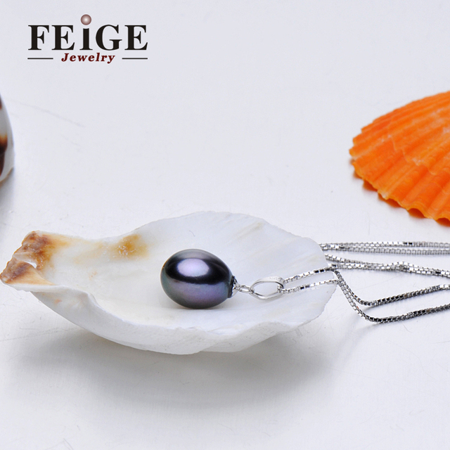 FEIGE 9-10mm Black Freshwater Pearls 925 Sterling Silver Necklaces & Pendants For Women's Retro Style Fine Jewelry