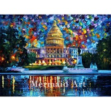 Landscape Abstract At Night Washington Hand Painted Palette Knife Modern Oil Painting Canvas Wall Living Room Artwork Fine Art