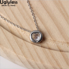 Uglyless Real S 925 Sterling Silver Heart Zircon Necklace with Chains Love Gift Fine Jewelry for Women MINI Round Pendant Bijoux