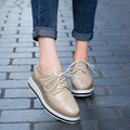 Women Platform Oxfords Brogue Flats Shoes Patent Leather Lace Up Pointed Toe Luxury Brand Beige Red Black Pink Creepers 366W