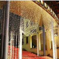Christmas Garlands LED String Warm White RGB 300 LEDS 3M 3M LED Curtain Waterfall Xmas Party