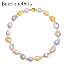BaroqueOnly Rare Pink and Purple Colorful Nuclear Baroque Pearl 15-25mm Multiple Beads Choker Necklace 18'' Meteorites Series beautiful rare 18 33mm baroque black keshi reborn pearl necklace