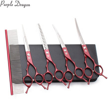 "Suit 7"" JP 440C Dog Grooming Kit Straight Scissors Thinning Shears Up&Down Curved Shears Professional Pet Scissors Add Bag Z3009(China)"